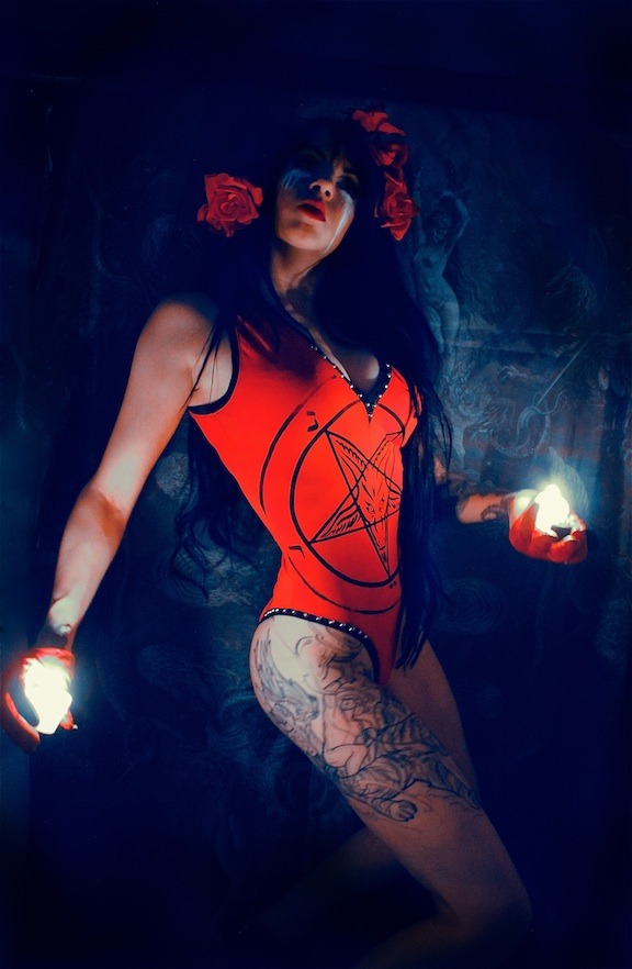 Toxic Vision red Baphomet sigil bodysuit