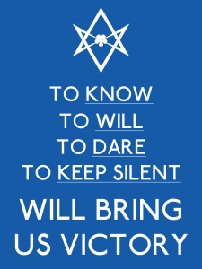 Unicursal Know, Will, Dare, Keep Silent victory poster
