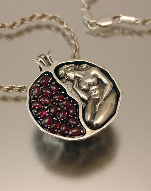 WingedLion's Silver and Garnet Pomegranate Pendant large