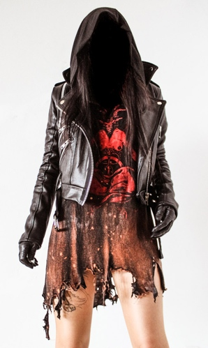 Toxic Vision sleeveless Baphomet cloak