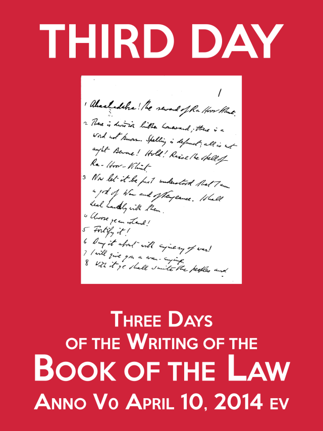 Anno V0 Third Day of the Writing of the Book of the Law 2014 ev Poster