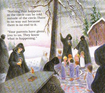 Child's illustrated garden of Satanic ritual abuse via Boing Boing