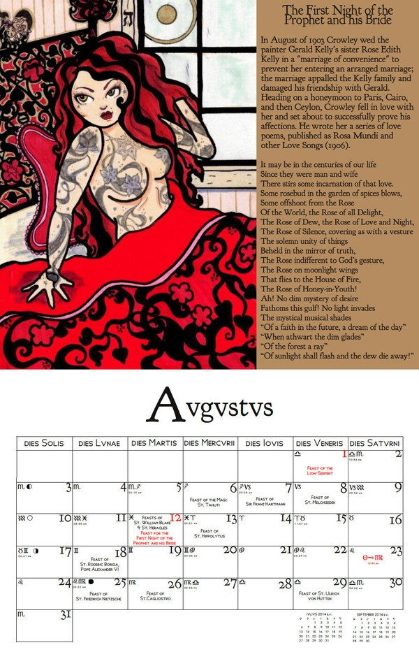 Thelemic seasonal Holy Day wall calendar for 2014 from Knights Templar