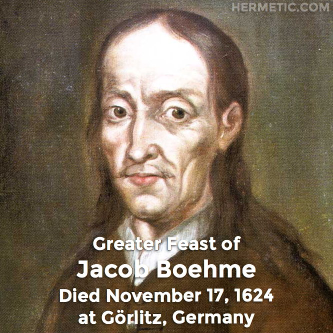 Hermetic calendar Nov 17 Jacob Boehme