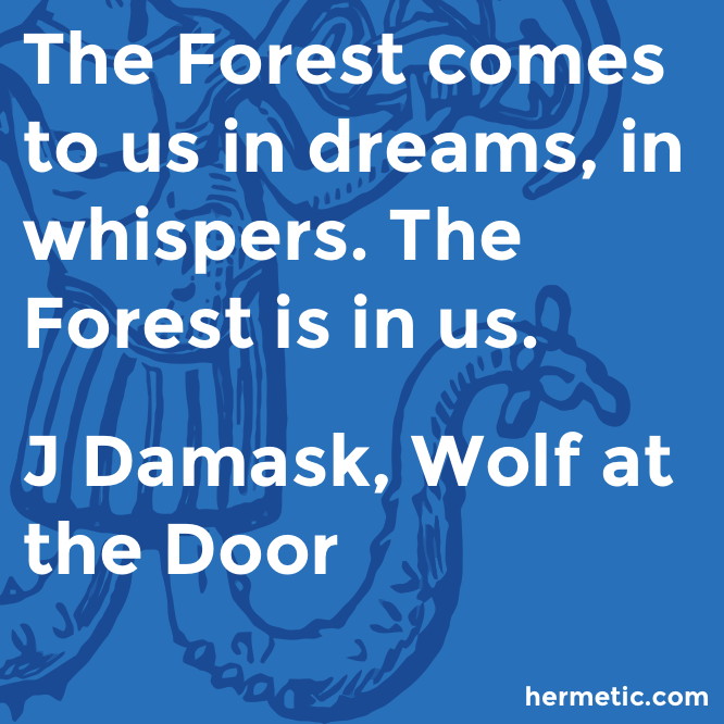 Hermetic quote Damask Wolf forest