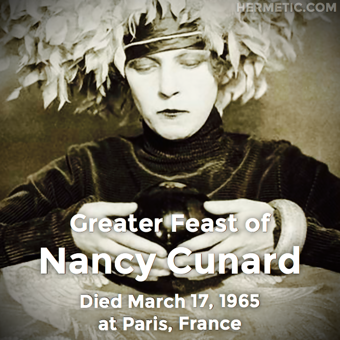 Hermetic calendar Mar 17 Nancy Cunard