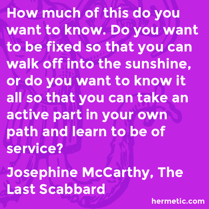 Hermetic quote McCarthy Scabbard service