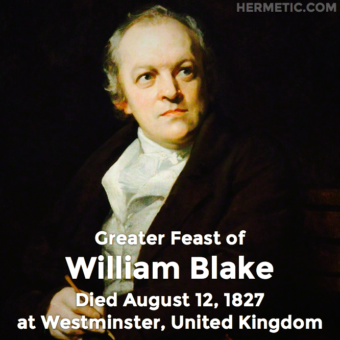 Hermetic calendar Aug 12 William Blake