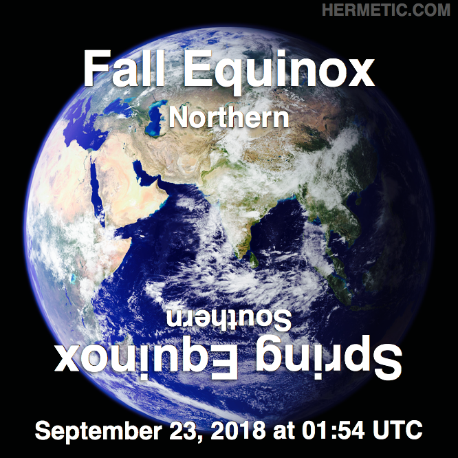 Hermetic calendar Sep 23 Autumnal Fall Equinox 2018