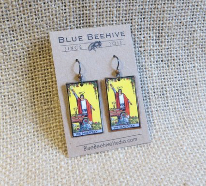 Blue Beehive Studio The Magician tarot earrings
