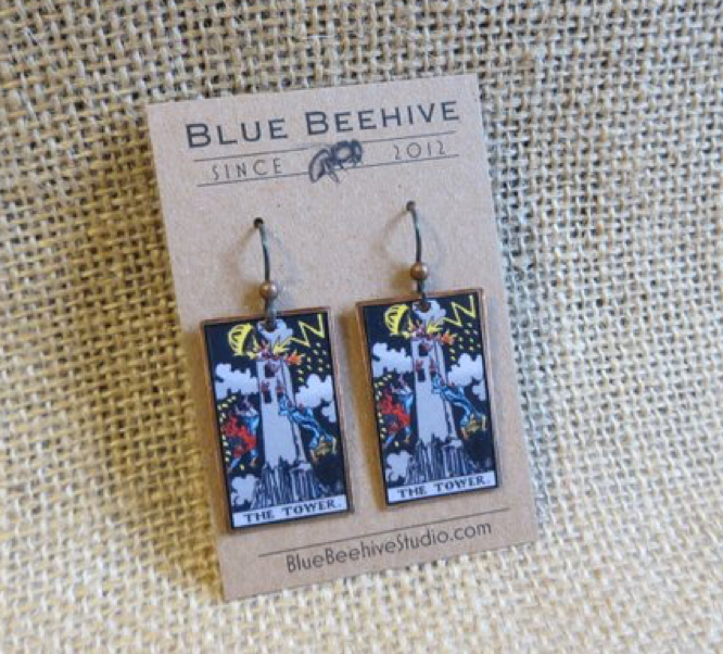 Blue Beehive Studio The Tower tarot earrings