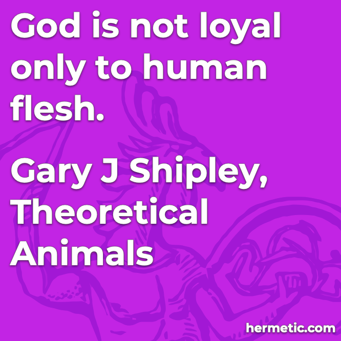 Hermetic quote Shipley Theoretical Animals god is not loyal only to human flesh