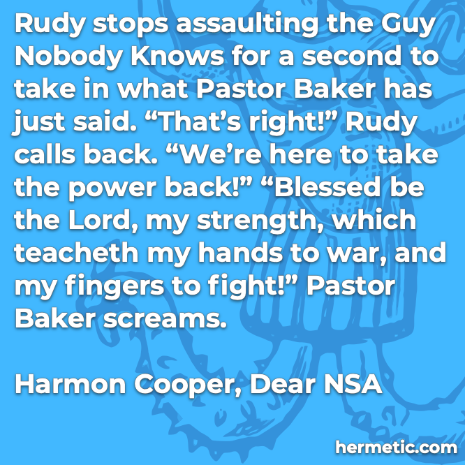 Hermetic quote Cooper Dear NSA stops assaulting take power back strength war fight screams