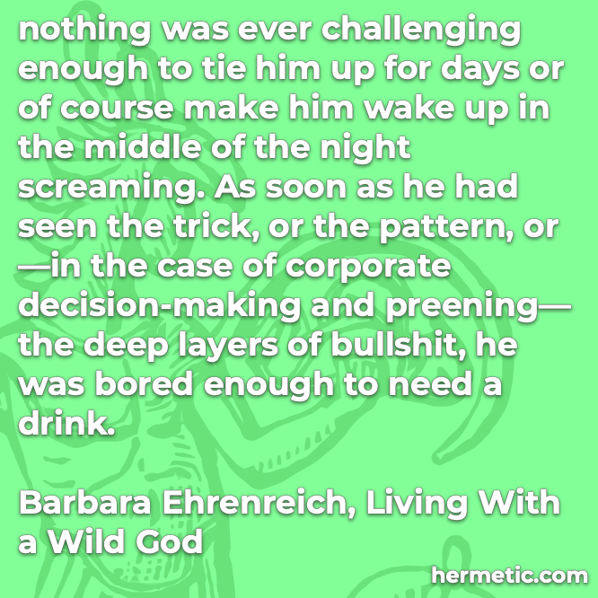 Hermetic quote Ehrenreich Living with a Wild God nothing challenging enough to wake up screaming seen the trick pattern deep bullshit bored need a drink