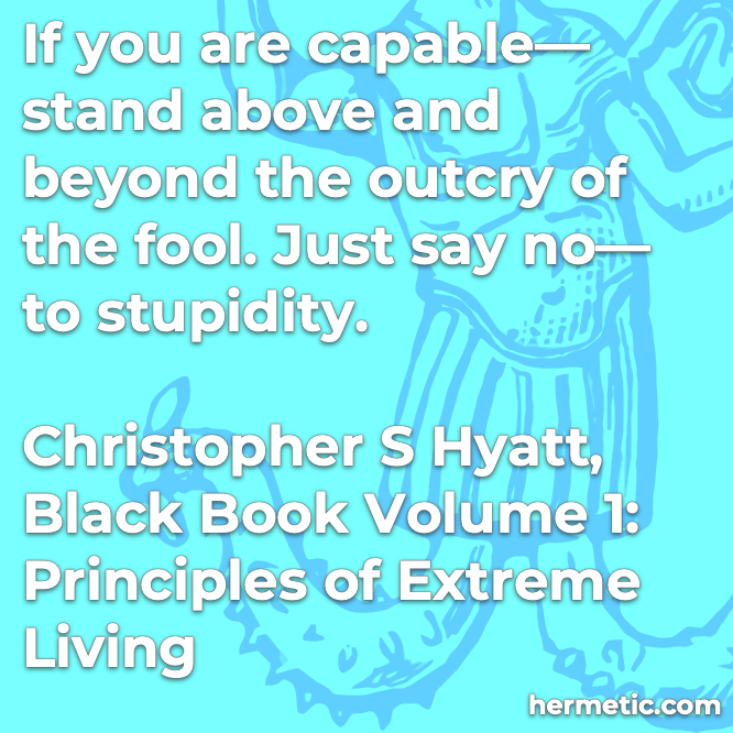 Hermetic quote Hyatt Princliples of Extreme Living if capable stand above beyond outcry the fool just say no stupidity